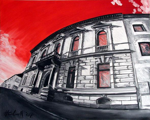 Rathaus Perg mit rotem Himmel (100x80cm) 2007