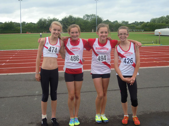 The Girls U13 4x100 relay team - l-r: Kirstie Constable, Jude Dowdeswell, Alidia Vaile, Amelia Hill
