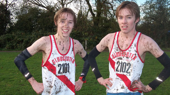 A muddy Alex and Tom George at Leamington