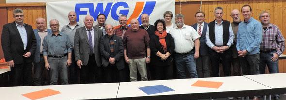 Der frischgewählte FWG Kreisvorstand mit Beisitzern.