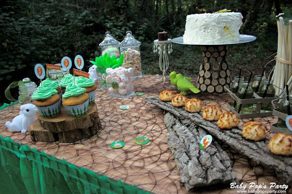 anniversaire garçon enfant 3 ans forêt enchantée loup champignon renard lapin vert cupcake idée organisation personnalisé original so lovely moments baby pop's party baby shower