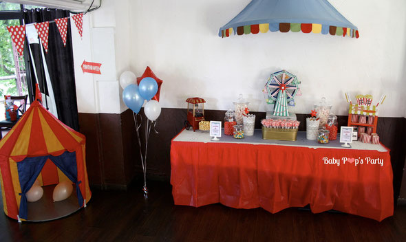 baby pop's party baptême fête foraine circus christening sweet table red rouge candy bar pop corn garçon boy grand roue