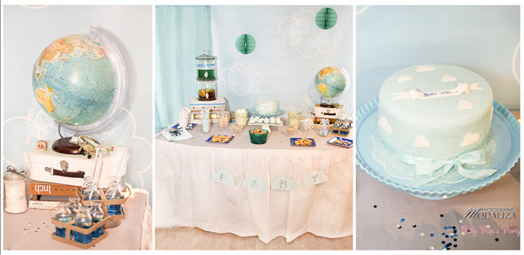 sweet table buffet bon vol baby shower bébé grossesse femme enceinte party avion nuage cloud sky boy garçon bleu blanc
