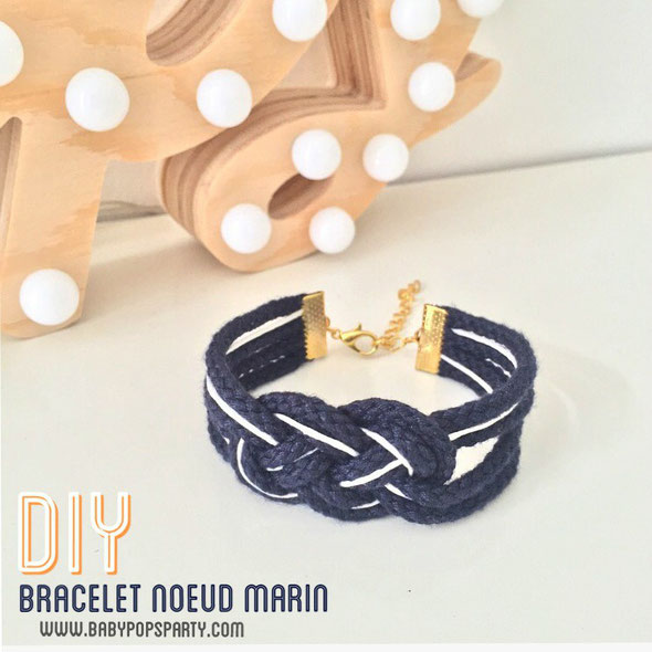DIY bracelet noeud marin bleu marine do it yourself tuto tutoriel bijoux maison fait main baby pops party