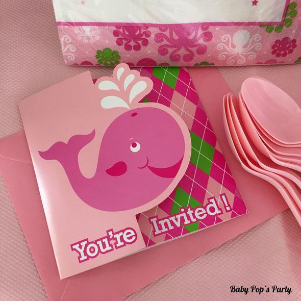 kit baby shower à gagner 8 personnes baleine bleu rose baleno
