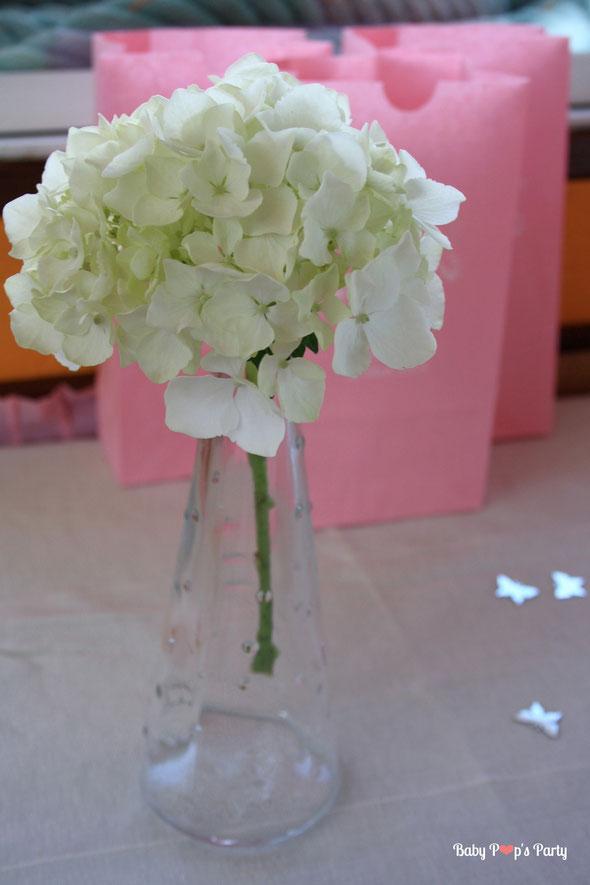 baptême paris péniche albatros rose blanc hortensias décoration organisation pâtissier traiteur candy bar bar à bonbons bordeaux 33 fleurs