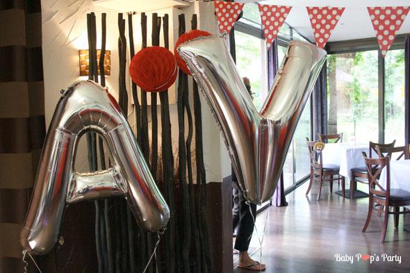 baby pop's party ballon géant hélium lettre argent baptême circus fête foraine