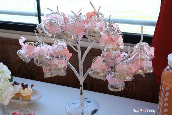 baptême paris péniche albatros rose blanc hortensias décoration organisation pâtissier traiteur candy bar bar à bonbons bordeaux 33 ballotins cages dragées papillon original