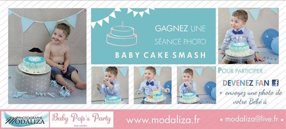 jeu concours séance photo cake smash bébé enfant modaliza baby pops party