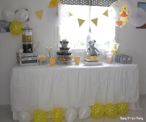 baby shower bébé caudéran naissance party grossesse femme enceinte winnie jaune blanc gris fête organisation bordeaux paris cap ferret arcachon bouscat 33 gironde