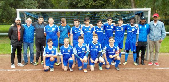 Die A-Junioren am 7. Oktober 2017 vor dem Spiel gegen Blau-Weiß Köln