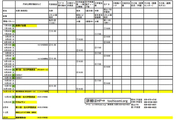 チーム会議・代表者会議、円卓会議日程(7/26現在)