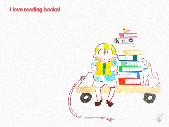 I love reading books!/マスキングテープ PhotoshopCS6 2013,12.3