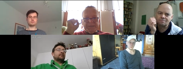 v. l. n. r.: Philipp Heyng, Jürgen Orlowski, Volker Sonnabend, Marcus Reinhard, Rolf Schüler