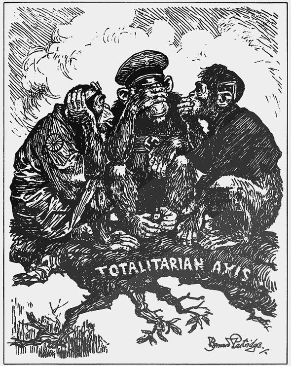 Карикатура Бернарда Партриджа «Тройственный пакт» для журнала «Панч», 1940 г.