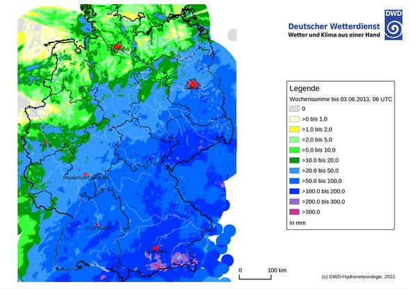 Bildquelle: Deutscher Wetterdienst | Wochenniederschlagsmengen bis 03.06.2013 über Deutschland.