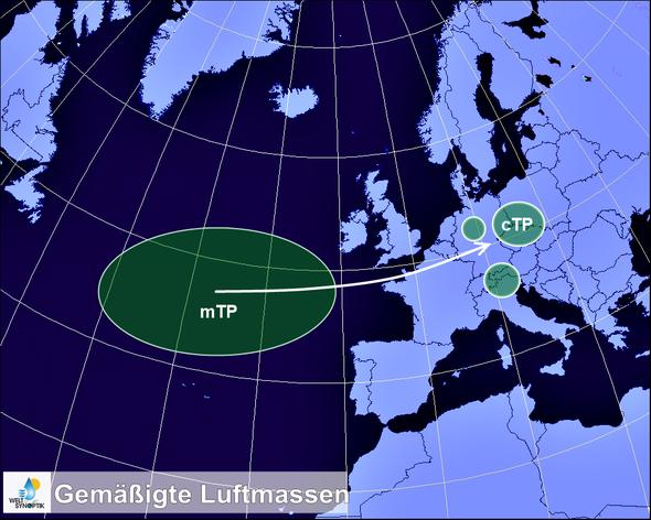 Bildquelle: Welt der Synoptik | Schematische Darstellung der Lage und Verlagerung gemäßigter Luftmassen.