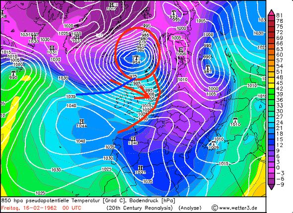 Bildquelle: www.wetter3.de | Tiefzentrum, Warmfront (rot) , Kaltfront (blau), Windrichtung