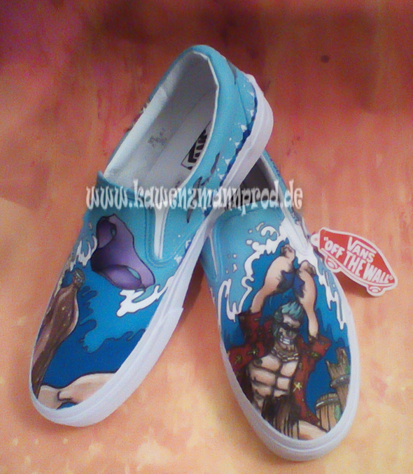 custome made painted shoes, One Piece Franky