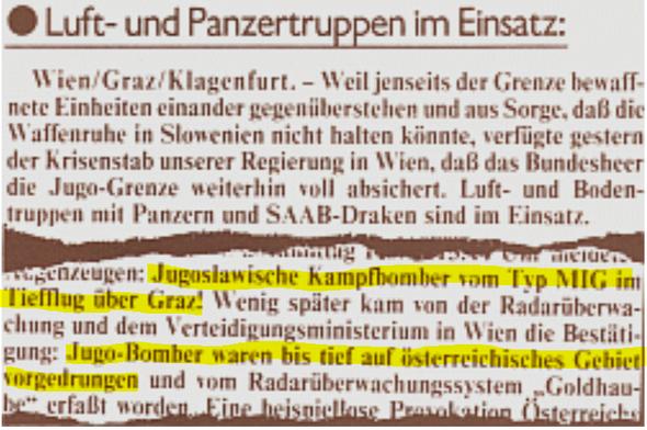 Der österreische Luftraum wurde 1991 mehrfach durch jugoslawische MIG 21 verletzt