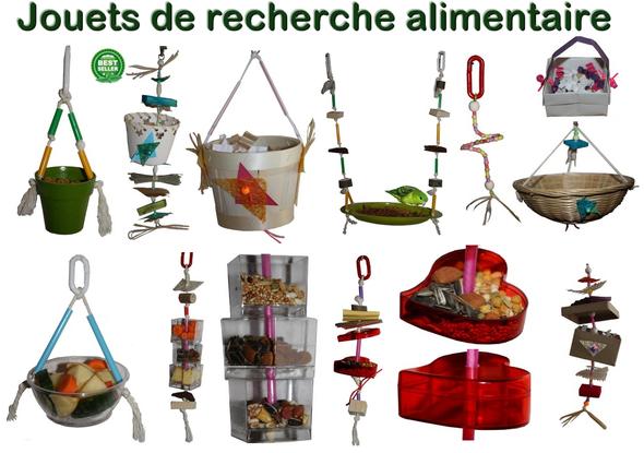 Jouets de recherche alimentaire (foraging) pour perruches et perroquets