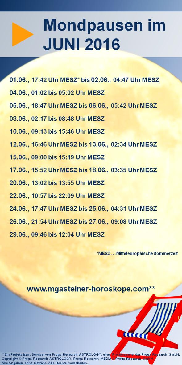Mondpausentabelle für Juni 2016.