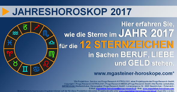 JAHRESHOROSKOP 2017: Astrologe Michael Gasteiner verrät Ihnen, wie IHRE STERNE stehen.