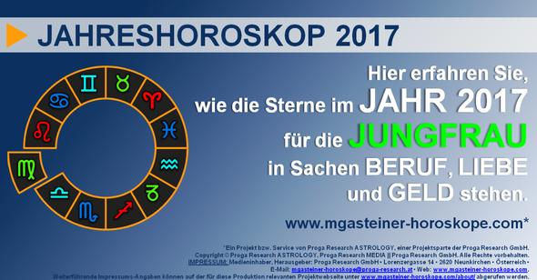 JAHRESHOROSKOP für die JUNGFRAU (23. August bis 22. September): BERUF, LIEBE und GELD.