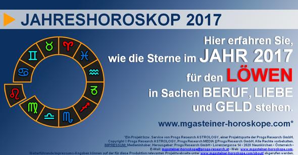 JAHRESHOROSKOP für den LÖWEN (23. Juli bis 22. August): BERUF, LIEBE und GELD.