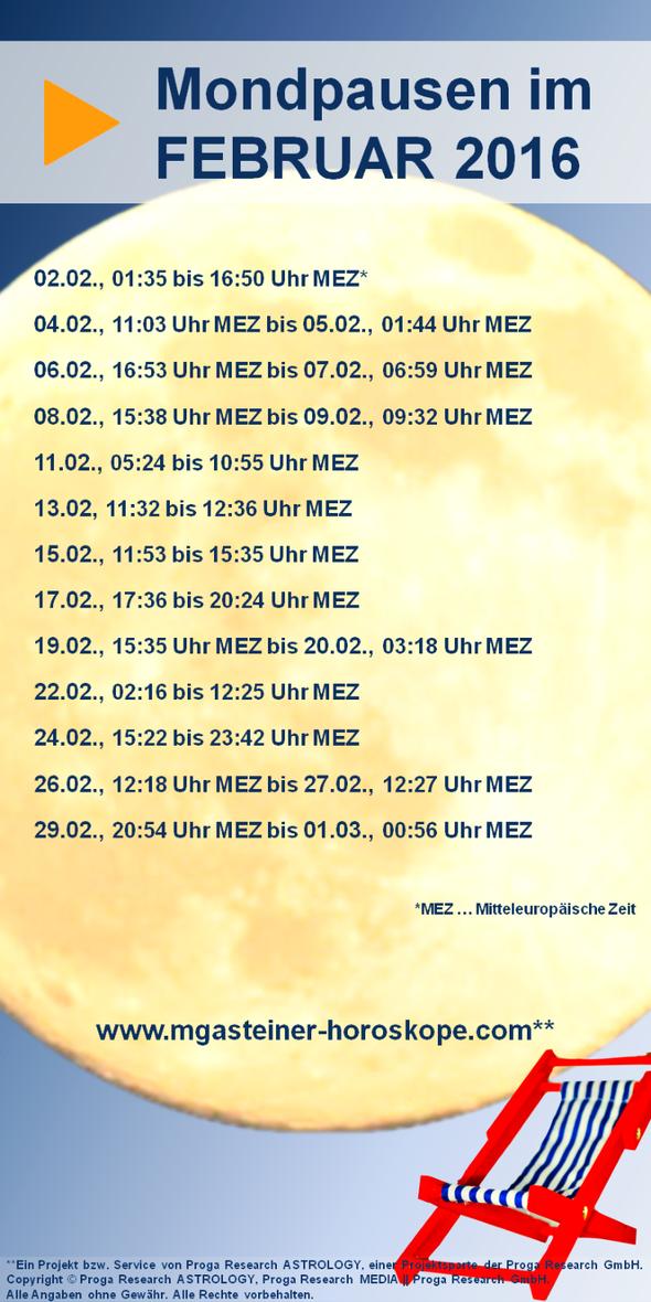 Mondpausentabelle für Februar 2016.