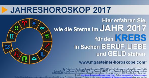 JAHRESHOROSKOP für den KREBS (22. Juni bis 22. Juli): BERUF, LIEBE und GELD.
