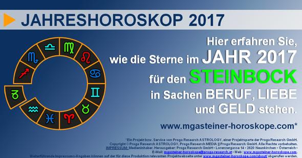 JAHRESHOROSKOP für den STEINBOCK (21. Dezember bis 19. Januar): Beruf. Liebe. Geld.