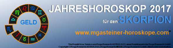 JAHRESHOROSKOP 2017 für den SKORPION: GELD.