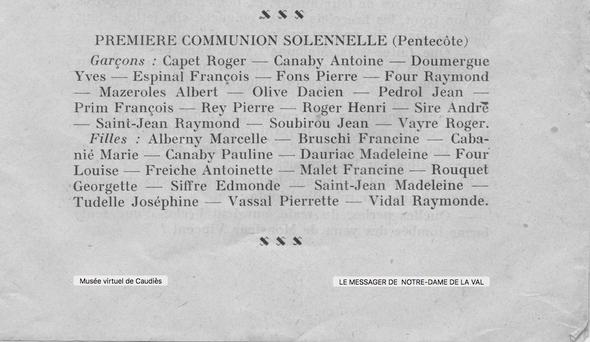 comemunion 1933 list