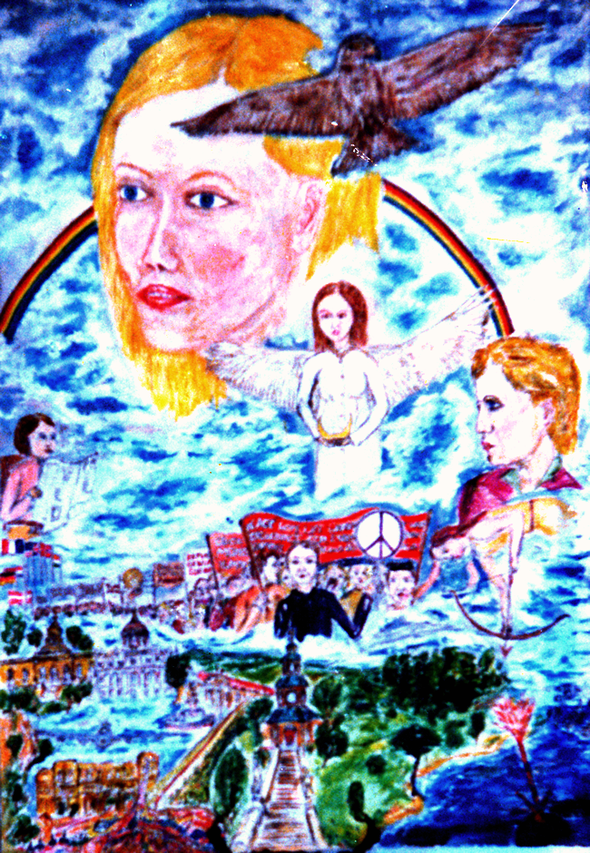 'RAINBOW-WARRIOR-PAINTING', gemalt im Juni 1985. Am 10. Juli 1985 als Geschenk für Petra Kelly und Gert Bastian, die bekannten Friedenspolitiker der DIE GRÜNEN, im Bundestag. Synchron zum Rainbowwarrior-Attentat!