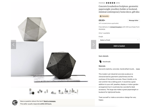 The concrete icosahedron sculpture by PASiNGA is Etsy bestseller listed!