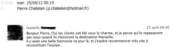 suite à une prestation évènementielle à Marseille - pour une chaine d'hotels de luxe
