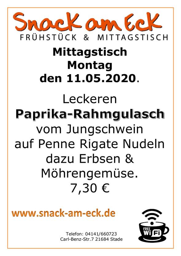 Mittagstisch am Montag den 11.05.2020: Leckeren Paprika-Rahmgulasch vom Jungschwein auf Penne Rigate Nudeln dazu Erbsen & Möhrengemüse. 7,30 €