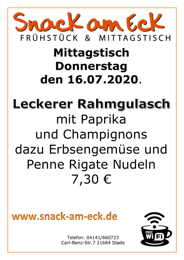 Mittagstisch am Donnerstag den 16.07.2020: Leckerer Rahmgulasch mit Paprika und Champignons dazu Erbsengemüse und Penne Rigate Nudeln 7,30 €