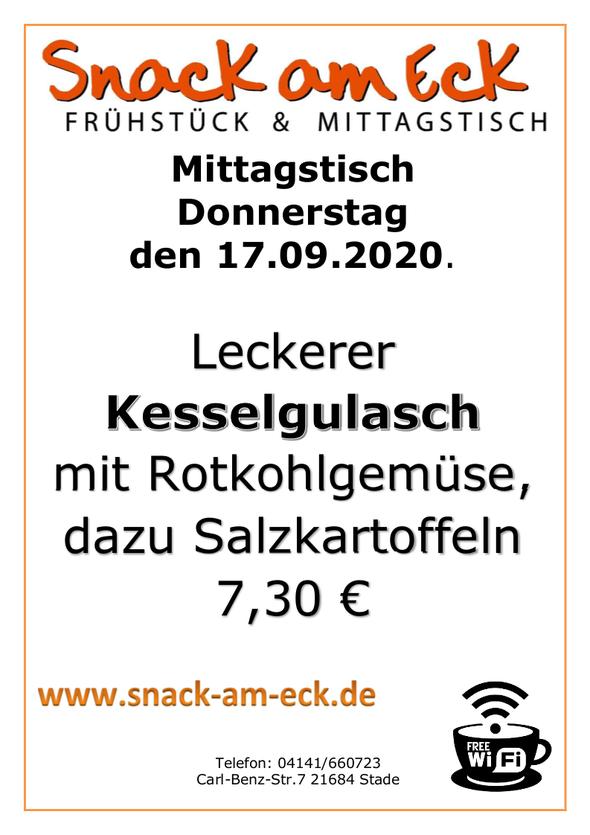 Mittagstisch am Donnerstag den 17.09.2020: Leckerer Kesselgulasch mit Rotkohlgemüse, dazu Salzkartoffeln 7,30 €