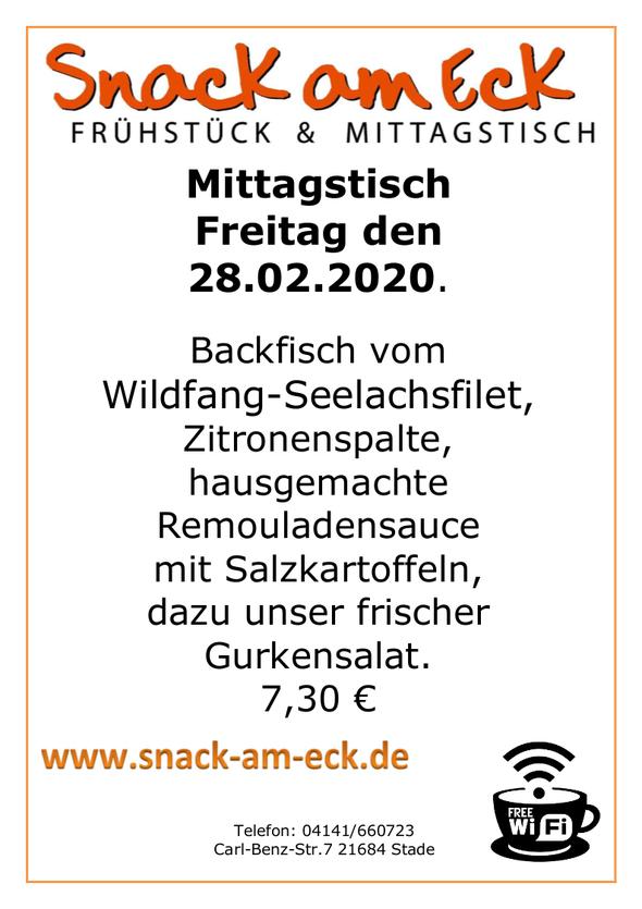 Mittagstisch am Freitag den 28.02.2020: Backfisch vom Wildfang-Seelachsfilet, Zitronenspalte,hausgemachte Remouladensauce mit Salzkartoffeln, dazu unser frischer Gurkensalat. 7,30 €