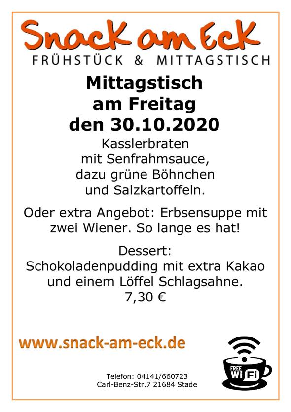 Mittagstisch am Freitag den 30.10.2020: Oder extra Angebot: Erbsensuppe mit zwei Wiener 7,30 €