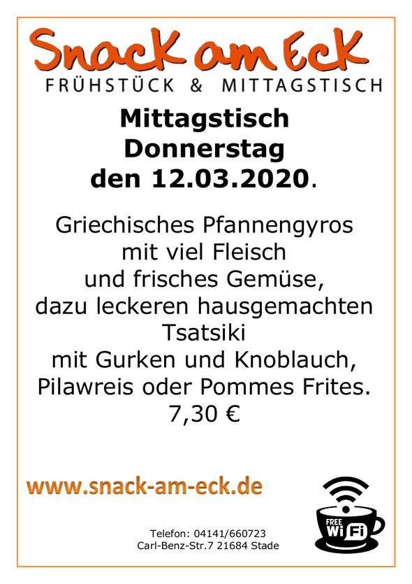 mittagstisch am Donnerstag den 12.03.2020: Griechisches Pfannengyros mit viel Fleisch und frisches Gemüse, dazu leckeren hausgemachten Tsatsiki mit Gurken und Knoblauch, Pilawreis oder Pommes Frites. 7,30 €