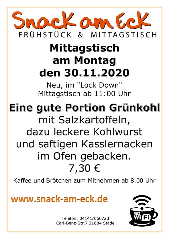 Mittagstisch am Montag den 30,11.2020: Eine gute Portion Grünkohl mit Salzkartoffeln, dazu leckere Kohlwurst und saftigen Kasslernacken im Ofen gebacken. 7,30 €