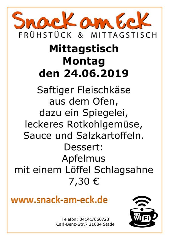 Mittagstisch am Montag den 24.06.2019: Saftiger Fleischkäse aus dem Ofen, dazu ein Spiegelei, leckeres Rotkohlgemüse, Sauce und Salzkartoffeln. Dessert: Apfelmus mit einem Löffel Schlagsahne 7,30 €