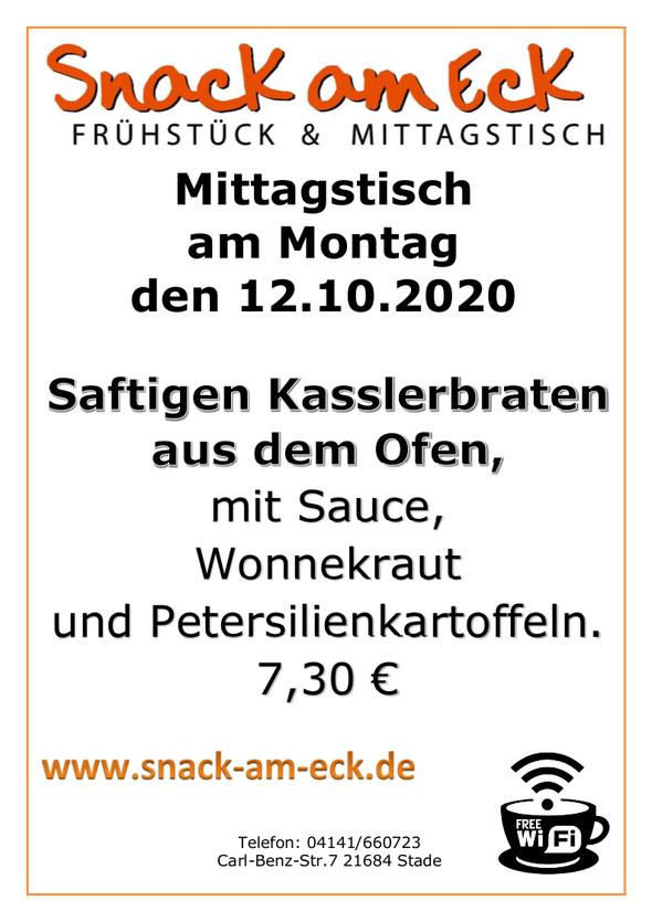 Mittagstisch am Montag den 12.10.2020: Saftigen Kasslerbraten aus dem Ofen, mit Sauce, Wonnekraut und Petersilienkartoffeln.  7,30