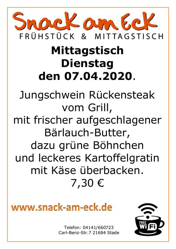 Mittagstisch am Dienstag den 07.04.2020: Jungschwein Rückensteak vom Grill, mit frischer aufgeschlagener Bärlauchbutter, dazu grüne Böhnchen und leckeres Kartoffelgratin mit Käse überbacken. 7,30 €