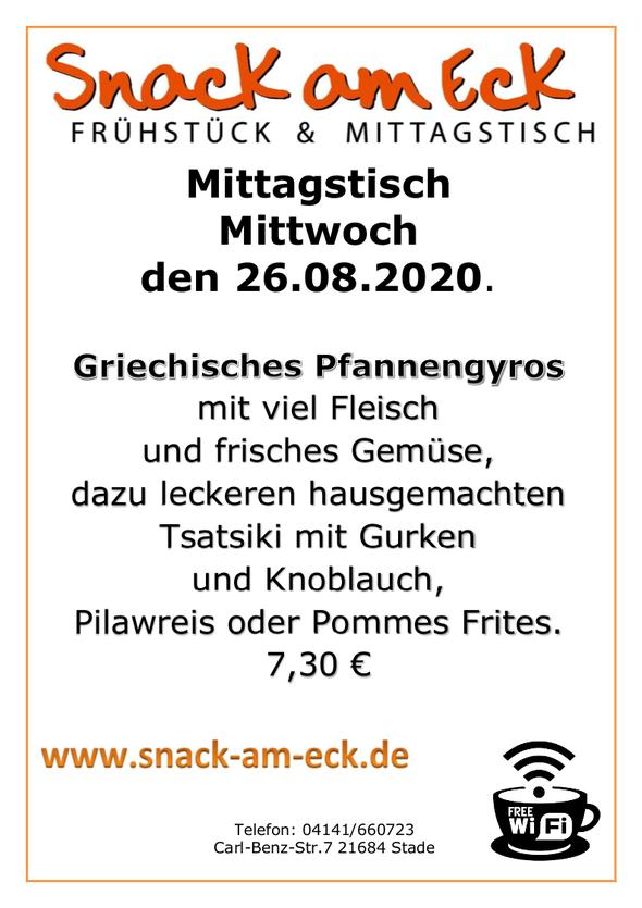 Mittagstisch am mittwoch den 26.08.2020: Griechisches Pfannengyros mit viel Fleisch und frisches Gemüse, dazu leckeren hausgemachten Tsatsiki mit Gurken und Knoblauch, Pilawreis oder Pommes Frites. 7,30 €