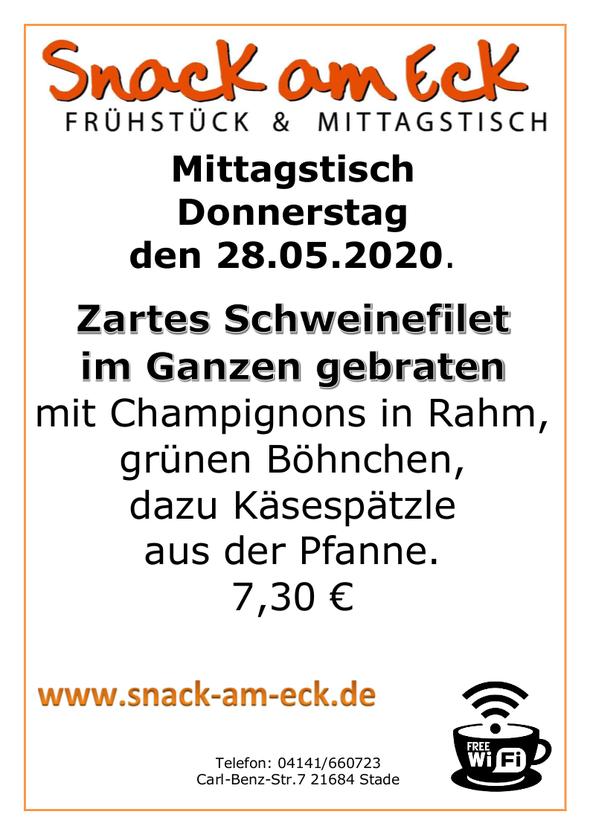 Mittagstisch am Mittwoch den 28.05.2020: Zartes Schweinefilet im ganzen gebraten mit Champignons in Rahm, grünen Böhnchen, dazu Käsespätzle aus der Pfanne. 7,30 €
