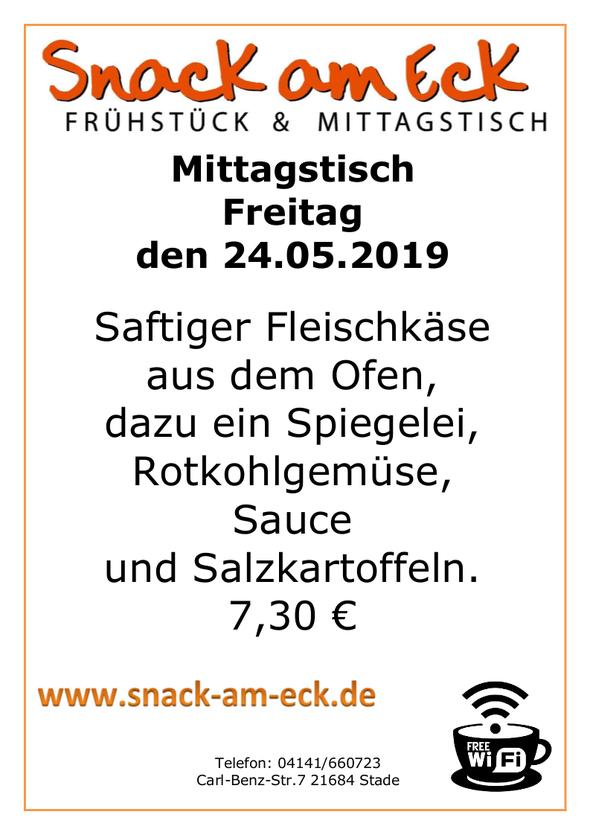 Mittagstisch am Freitag den 24.05.2019: Saftiger Fleischkäse aus dem Ofen, dazu ein Spiegelei, Rotkohlgemüse, Sauce, und Salzkartoffeln. 7,30 €